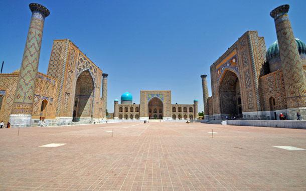 世界遺産「サマルカンド-文化交差路(ウズベキスタン)」、レギスタン広場