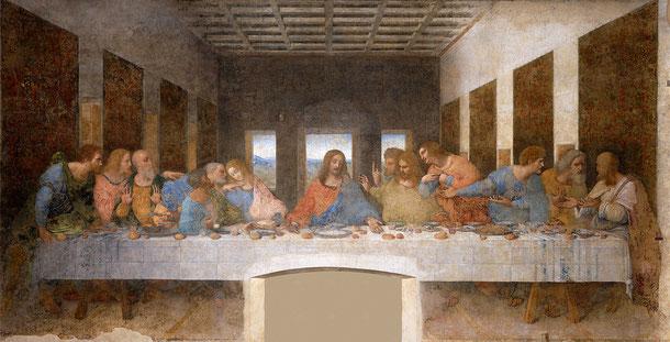 世界遺産「レオナルド・ダ・ヴィンチの「最後の晩餐」があるサンタ・マリア・デッレ・グラツィエ教会とドメニコ会修道院(イタリア)」、レオナルド・ダ・ヴィンチ「最後の晩餐」1495-1498年