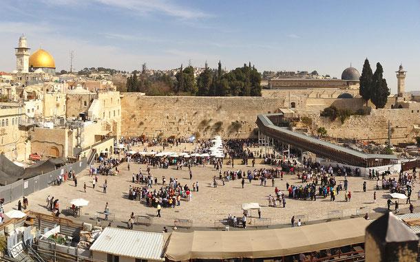 世界遺産「エルサレムの旧市街とその城壁群」資産内、岩のドーム、嘆きの壁、ムグラビ橋、アル=アクサー・モスク