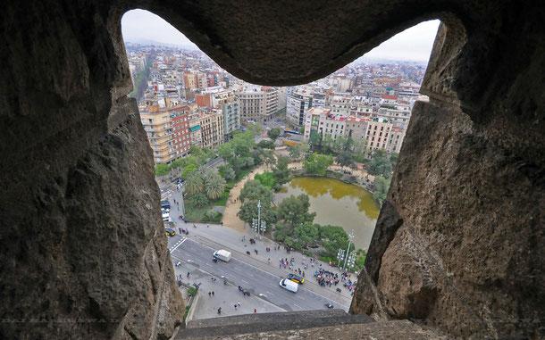 サグラダ・ファミリア生誕のファサード、塔よりの眺め