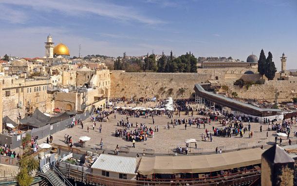 世界遺産「エルサレムの旧市街とその城壁群(ヨルダン申請)」、嘆きの壁と神殿の丘