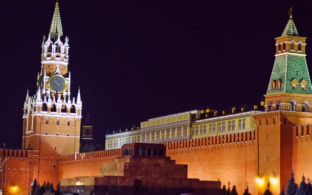 世界遺産「モスクワのクレムリンと赤の広場」、レーニン廟とセナツカヤ塔、スパスカヤ塔