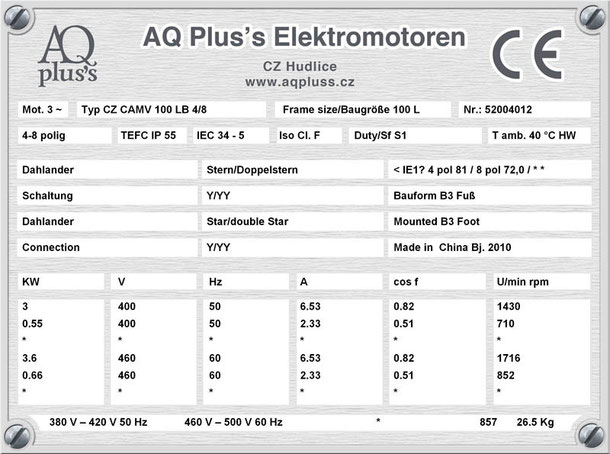 Elektromotor 3/0,55 KW 4/8 polig IEC 100L B3 Synchrondrehzahl 1500/750 U/min Nenndrehzahl ca. 1430/710 U/min Nr.: 52004012