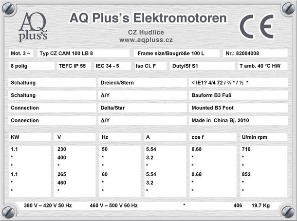 Elektromotor  1,1 KW  8 polig B3