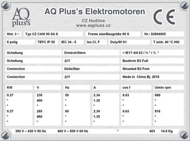 Elektromotor  0,37 KW  8 polig B3