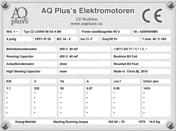 Einphasenmotor 1,1 KW 4 polig IEC 90S (1500 U/min) Nenndrehzahl ca. 1410 U/min B3 (Fuß) mit Betriebskondensator Nr.: 42004009BK