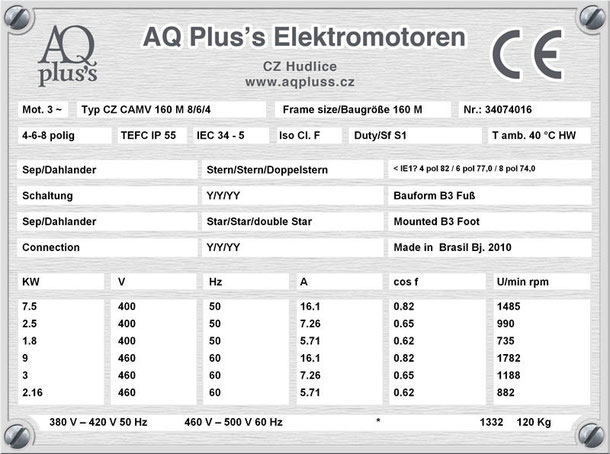 E-Motor 7,5/2,5/1,8 KW 4/6/8 polig IEC 160M (1500/1000/750 U/min) Nenndrehzahl ca. 1485/990/735 U/min B3 Nr.: 33004016