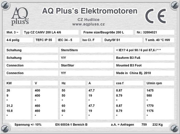 Elektromotor 26/9 KW 4/6 polig IEC 200L B3 Synchrondrehzahl 1500/1000 U/min Nenndrehzahl ca. 1475/980 U/min Nr.: 32004021