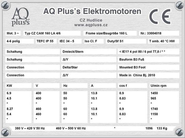 Elektromotor 6,9/4,5 KW 4/6 polig IEC 160L B3 Synchrondrehzahl 1500/1000 U/min Nenndrehzahl ca. 1450/965 U/min Nr.: 33004018