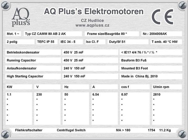 Einphasenmotor 1,1 KW 2 polig IEC 80 3000 U/min Nenndrehzahl ca. 2810 U/min B3 mit Betriebs/Anlaufkondensator Nr.: 2004008AK