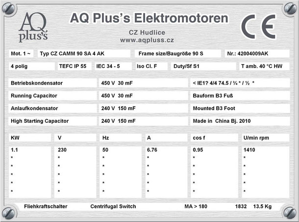 Einphasenmotor 1,1 KW 4 polig IEC 90S 1500 U/min Nenndrehzahl ca. 1410 U/m B3 mit Betriebs/Anlaufkondensator Nr.: 42004009AK