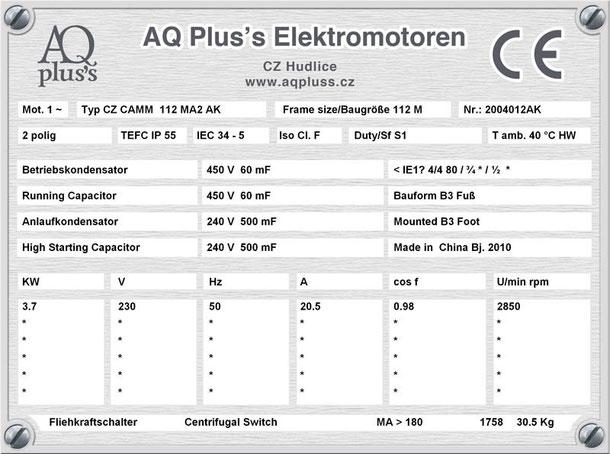 Einphasenmotor 3,7 KW 2 polig IEC 112M 3000 U/min Nenndrehzahl ca. 2850 U/min B3 mit Betriebs/Anlaufkondensator Nr.: 2004012AK
