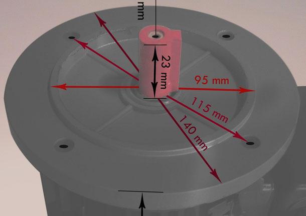 Flanschmaße IEC 63 Link zu B5 E Motoren Mechanik