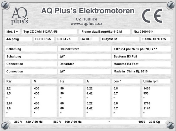 Elektromotor 2,2/1,5 KW 4/6 polig IEC 112M B3 Synchrondrehzahl 1500/1000 U/min Nenndrehzahl ca. 1430/950 U/min Nr.: 33004014