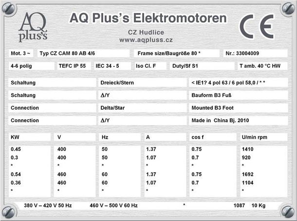Elektromotor 0,45/0,3 KW 4/6 polig IEC 80 B3 Synchrondrehzahl 1500/1000 U/min Nenndrehzahl ca. 1410/920 U/min Nr.: 33004009