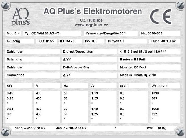 Elektromotor 0,45/0,25 KW 4/8 polig IEC 80 B3 Synchrondrehzahl 1500/750 U/min Nenndrehzahl ca. 1390/685 U/min Nr.: 53004009