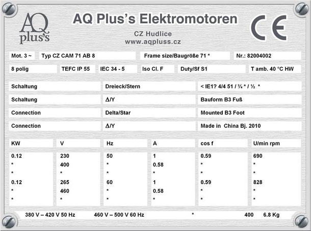 Elektromotor  0,12 KW  8 polig B3