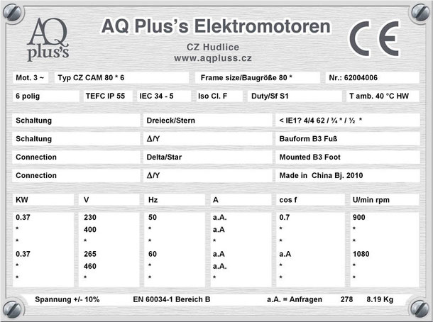 Elektromotor 0,37 KW  6 polig B3
