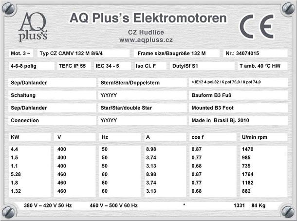 E-Motor 4,4/1,5/1,1 KW 4/6/8 polig IEC 132M (1500/1000/750 U/min) Nenndrehzahl ca. 1470/985/735 U/min B3 Nr.: 33004015
