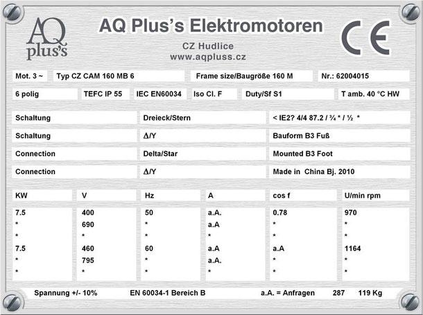 Elektromotor 7,5 KW  6 polig B3