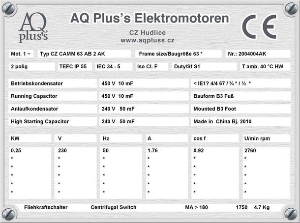 Einphasenmotor 0,25 KW 2 polig IEC 63 3000 U/min Nenndrehzahl ca. 2760 U/min B3 mit Betriebs/Anlaufkondensator Nr.: 2004004AK
