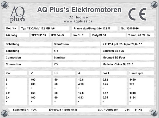 Elektromotor 6,5/2 KW 4/6 polig IEC 132M B3 Synchrondrehzahl 1500/1000 U/min Nenndrehzahl ca. 1440/970 U/min Nr.: 32004016