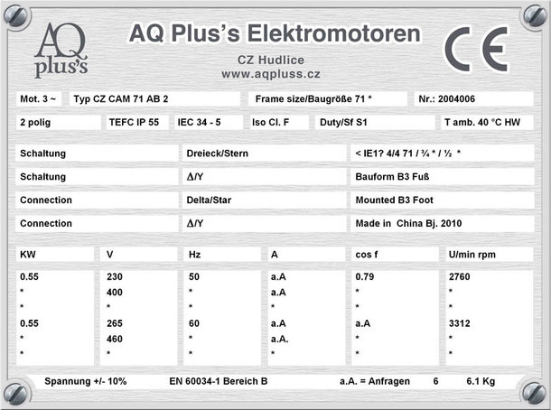 0,55 KW Elektromotor 2 polig B3