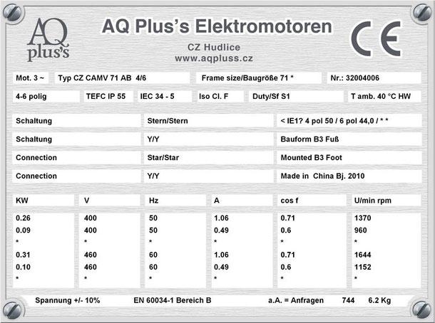 Elektromotor 0,26/0,09 KW 4/6 polig IEC 71 B3 Synchrondrehzahl 1500/1000 U/min Nenndrehzahl ca. 1370/960 U/min Nr.: 32004006