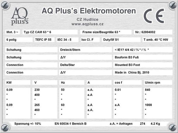 0,09 KW 6 polig B3 Elektromotor