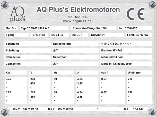 Elektromotor  0,75 KW  8 polig B3