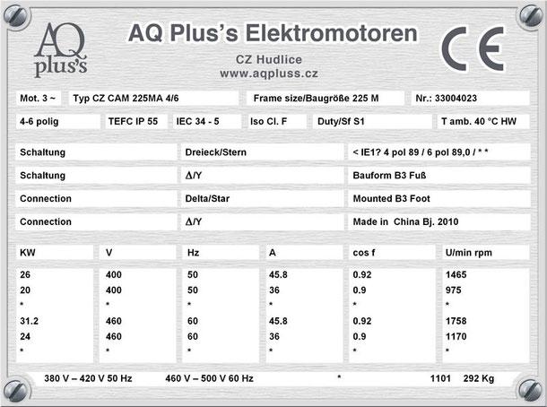 Elektromotor 26/20 KW 4/6 polig IEC 225M B3 Synchrondrehzahl 1500/1000 U/min Nenndrehzahl ca. 1465/975 U/min Nr.: 33004023