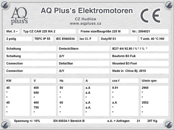 Elektromotor 45 KW 2 polig B3
