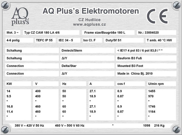 Elektromotor 14/9,5 KW 4/6 polig IEC 180L B3 Synchrondrehzahl 1500/1000 U/min Nenndrehzahl ca. 1455/970 U/min Nr.: 33004020
