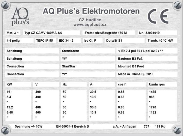 Elektromotor 16/5,4 KW 4/6 polig IEC 180M B3 Synchrondrehzahl 1500/1000 U/min Nenndrehzahl ca. 1475/985 U/min Nr.: 32004019