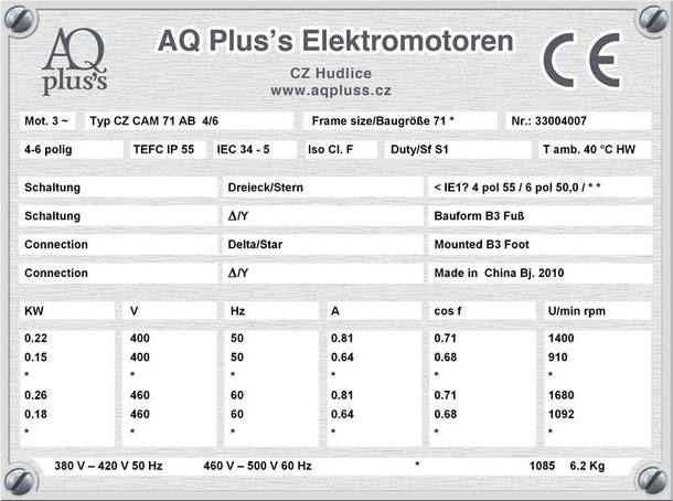 Elektromotor 0,22/0,15 KW 4/6 polig IEC 71 B3 Synchrondrehzahl 1500/1000 U/min Nenndrehzahl ca. 1400/910 U/min Nr.: 33004007