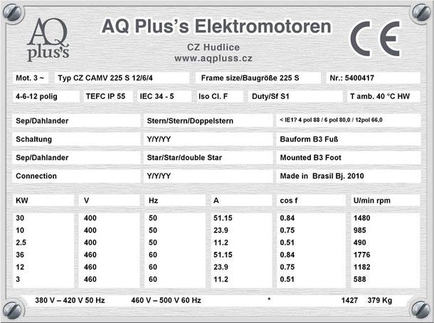 E-Motor 30/10/2,5 KW 4/6/12 polig IEC 225S (1500/1000/500 U/min) Nenndrehzahl ca. 1480/985/490 U/min B3 Nr.: 5300417