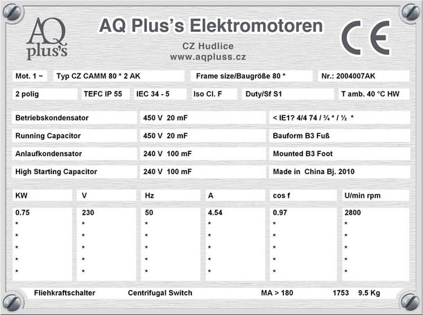 Einphasenmotor 0,75 KW 2 polig IEC 80 3000 U/min Nenndrehzahl ca. 2800 U/min B3 mit Betriebs/Anlaufkondensator Nr.: 2004007AK