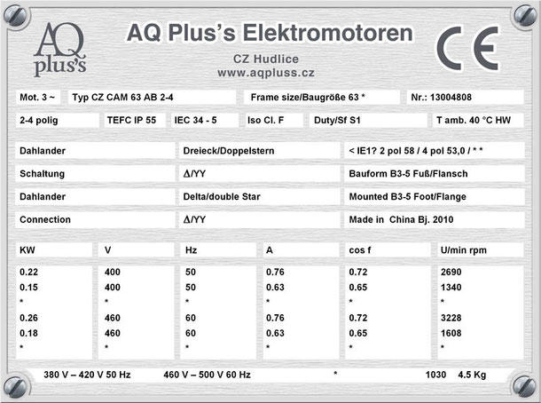 Elektromotor 0,22/0,15KW 2/4 polig IEC 63 B3 Synchrondrehzahl 3000/1500 U/min Nenndrehzahl ca. 2690/1340 U/min Nr.: 13004808