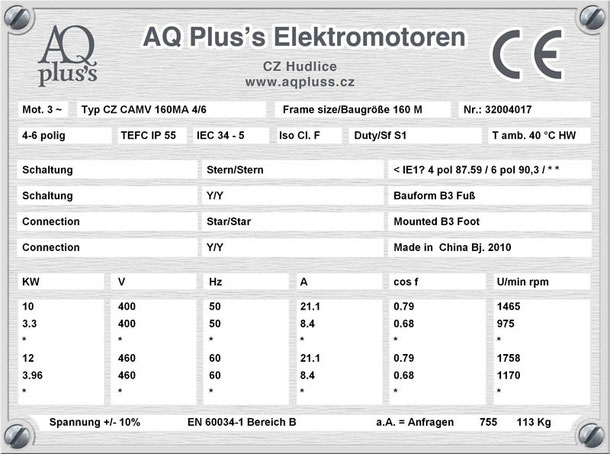 Elektromotor 10/3,3 KW 4/6 polig IEC 160M B3 Synchrondrehzahl 1500/1000 U/min Nenndrehzahl ca. 1465/975 U/min Nr.: 32004017