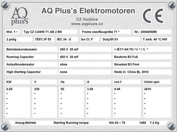 Einphasenmotor 0,55 KW 2 polig IEC 71 (3000 U/min) Nenndrehzahl ca. 2810 U/min B3 (Fuß) mit Betriebskondensator Nr.: 2004006BK