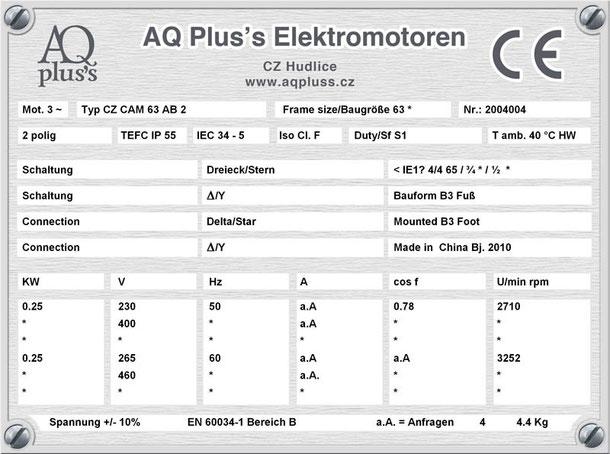 0,25 KE IEC 63 2 polig Maßbild elektromotor
