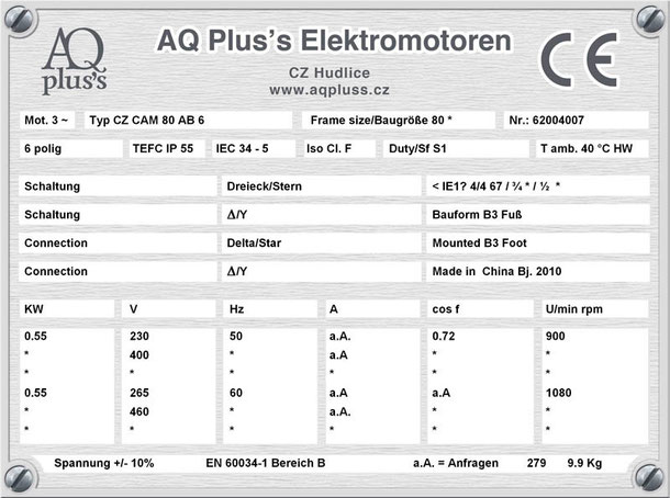 Elektromotor 0,55 KW  6 polig B3