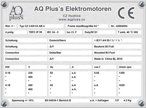 Elektromotor 0,18 KW 4 pol B3