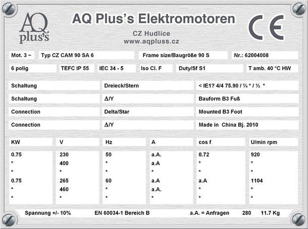 Elektromotor 0,75 KW  6 polig B3