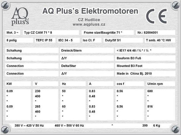 Elektromotor  0,09 KW  8 polig B3