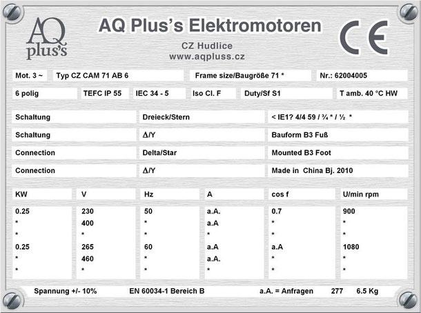 Elektromotor 0,25 KW  6 polig B3