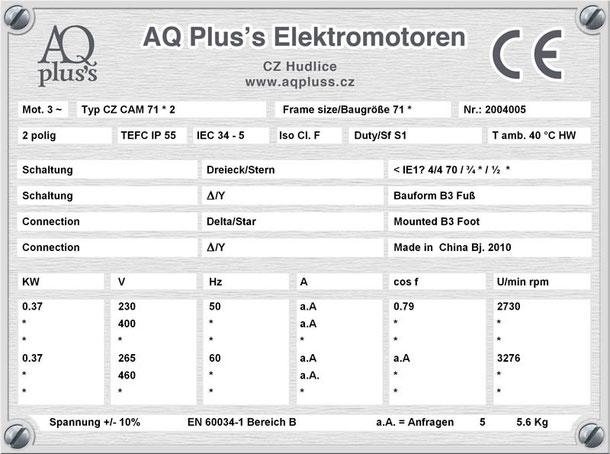 0,37 KW Elektromotor B3 2 polig