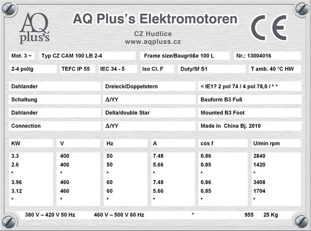 Elektromotor 3,3/2,6 KW 2/4 polig IEC 100L B3 Synchrondrehzahl 3000/1500 U/min Nenndrehzahl ca. 2840/1420 U/min Nr.: 3004016