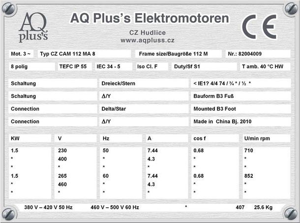Elektromotor  1,5 KW  8 polig B3