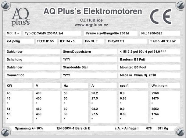 Elektromotor 45/15 KW 2/4 polig IEC 250 M B3 Synchrondrehzahl 3000/1500 U/min Nenndrehzahl ca. 2800/1400 U/min Nr.: 12004023